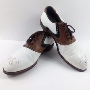 Footjoy Classic White Brown Saddle Golf Shoes 14D